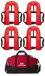 Set of Four Bluewave Red 150N 'pull cord to inflate' manual Lifejackets plus storage bag! £179.95!