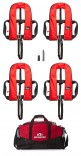 Set of Four Red 150N Auto harness lifejackets, with holdall and service kit! Save £120! £239.95!