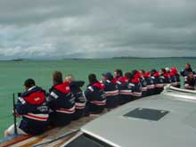 Crew of maxi yacht Leopard of London in breathable jackets